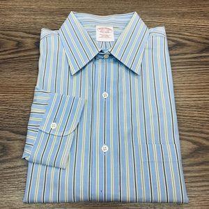 Brooks Brothers Blue w/ Olive Stripe Shirt 15.5-33